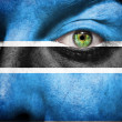 Flag painted on face with green eye to show Botswana support - Stock Photo