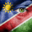 Flag painted on face with green eye to show Namibia support — Stock Photo