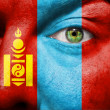 Flag painted on face with green eye to show Mongolia support - Stock Photo