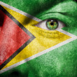 Flag painted on face with green eye to show Guyana support - Stock Photo