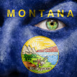 Flag painted on face with green eye to show Montana support — Stock Photo