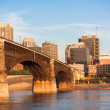 Eads bridge rail road crossing mississippi river at St Louis - Stock Photo