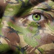 Camouflage painted on a face with green eye - Stock Photo