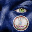 Flag painted on face with green eye to show Virginia support — Stock Photo