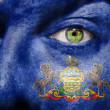 Flag painted on face with green eye to show Pennsylvania support — Stock Photo