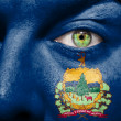 Flag painted on face with green eye to show Vermont support — Stock Photo