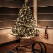 Christmas tree with race track - Stock Photo