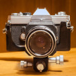 Retro camera with bellow extension — Stock Photo