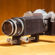 Vintage camera with bellow extension — Stock Photo
