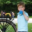 Little boy with drinking bottle — Stock Photo