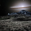 Stock Photo: Silver alien landscape with mountain