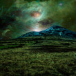 Green alien landscape with mountain — Stock Photo