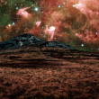 Red alien landscape with mountain — Stock Photo