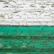 Old cracked wall texture: green and white colors — Stock Photo