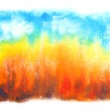 Abstract hand drawn watercolor background: fall landscape with blue sky and — Stock Photo