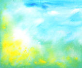 Abstract hand drawn watercolor background: summer landscape with blue sky, — Stock Photo