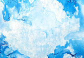 Abstract hand drawn paint background: blue patterns on sky-like backdrop — Stock Photo