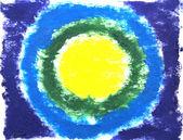 абстрактный фон краска рисованной: желтый, зеленый и синий круги — Стоковое фото