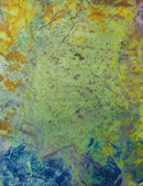 Abstract hand drawn paint background: blue and yellow patterns on gray back — Stock Photo