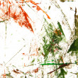 Abstract hand drawn painting / graphics: green and red patterns on white ba - Stock Photo