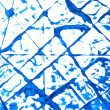 Abstract hand drawn painting / graphics: blue frost-like patterns on white — Foto de Stock