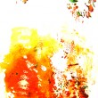 Abstract hand drawn painting / graphics: red, green, and yellow flower-like — Stock Photo
