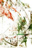 Abstract hand drawn painting / graphics: green and red patterns on white ba — Stock Photo