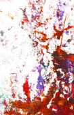 Abstract hand drawn painting / graphics: blue and red patterns on white bac — Stock Photo