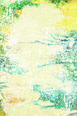 Abstract textured background: blue and green patterns on yellow backdrop — Стоковое фото