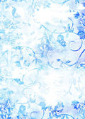 Abstract textured background: blue floral patterns on white backdrop — Stock Photo