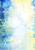 Abstract textured marine background: blue, yellow, and white patterns — Foto de Stock