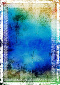 Elegant vintage border frame: abstract textured background with blue, green, and brown patterns — Stock Photo