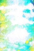 Old canvas: abstract textured sky-like background with blue, yellow, green, and white patterns — Stock Photo
