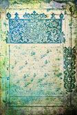 Streszczenie teksturowanej tło: starego rocznika strony z dekoracyjne wzory niebieski i zielony — Zdjęcie stockowe