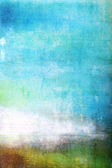 Abstract textured background: white, brown, and green patterns on blue sky-like backdrop — Stock Photo