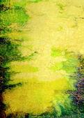 古い紙: 黄色の背景に、青、緑および茶色のパターンとテクスチャ背景を抽象化 — ストック写真