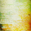 Stock Photo: Old canvas: Abstract textured background with green, orange, and brown patterns on yellow backdrop