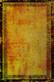 Old canvas with vintage border frame: Abstract textured background with red, orange, and brown patterns on yellow backdrop — Stock Photo