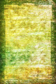 Vintage border frame: Abstract textured background with green, yellow, and brown patterns on white backdrop — Stock Photo