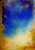 Old paper with abstract watercolor paint: textured background with yellow, blue, and brown patterns — Stock Photo