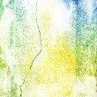 Old shabby wall: Abstract textured background with yellow, brown, and blue patterns on white backdrop — Stock Photo
