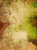 Abstact texturado con motivos florales verdes y marrones sobre fondo amarillo — Foto de Stock