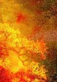 Abstact texturado con motivos florales de color amarillos y rojos sobre fondo marrón — Foto de Stock