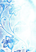 Abstract textured background: blue floral patterns on white backdrop — Stockfoto