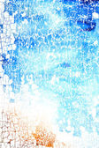 Abstracte gestructureerde achtergrond met blauw, geel en bruin patronen op witte achtergrond — Stockfoto