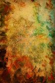 Resumen de textura fondo acuarela con patrones de verdes, rojos y marrón sobre fondo amarillo — Foto de Stock