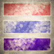 Stock Photo: Computer designed highly detailed red, blue, and purple grunge border frame with vintage texture