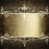 Computer designed highly detailed dark grunge border frame with gray silver ribbon, vintage texture — Stock Photo