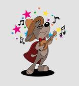矢量插图中,可爱的狗唱小夜曲 — 图库照片