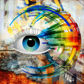 Bright abstract illustration with eye — Stock Photo
